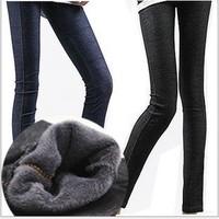 "Imitation cowboy with velvet leggings increasing more show thin autumn/winter warm leggings ""Women 's Pants free shipping"