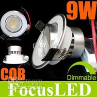 Wholesale - 2014 Newest Arrive! COB 3.5 inch 9W 1*9 Watt Dimmable LED Downlights Recessed Light Lamp Warm/Cool White With Power