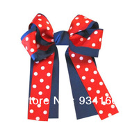 "6"" Polka Dot Over the Top/Long Tail Cheer Bow Cheerleading-Deep Navy/Red Clip-12pcs"