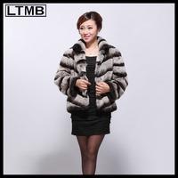 LTMB Rex rabbit  stripe  short full leather rex rabbit fur coat fur coat genuine fur o-neck collar winter  for 2014