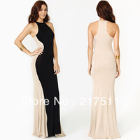Free Shipping 2013 New Women Long Evening Dress Elegant Color Block Sleeveless O-neck Floor Length Lady Trumpet Party Gowns D210