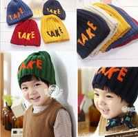 Hot 2013 retail children's knitted cap winter hat TAKE hat fashion cap 6 colors children cap unisex  free shipping