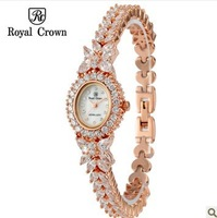 Royal Crown Ladies Gold Quartz Watch Fashion Crystal Bracelet Luxury Famous Brand Diamond Watches For Women Self-Wind Watches