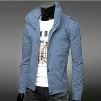 2014 men's casual solid color 100% cotton outwear slim stand collar spring casual fit  jacket denim coat DM007