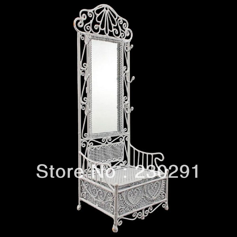 Branco Vanity Cabinet longa espelho caixa de armazenamento de gaveta aberta 1:12 de Doll House móveis Dollhouse jóias Display(China (Mainland))