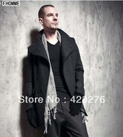 FREE SHIPPING 2013 fashion casual male long trench design stand collar single breasted turn-down collar outerwear