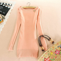 Autumn-winter sweater dress,O-neck solid sequined bow cute women's sweater,Sheath slim brief women's pullovers,Pink/Orange/Khaki