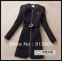 2013 women's fashion elegant slim fashion plus size long outerwear wadded jacket