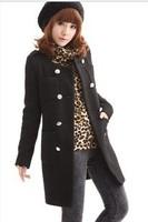 New 2013 women's outerwear autumn and winter medium-long woolen warm Korean coat o'neck khaki/black