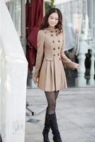2014 Trendy Women's slim woolen outerwear double breasted overcoats South Korean Stylish trench coats Beige/Khaki/Black