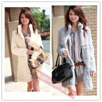 2014 new winter patchwork female slim mandarin hight collar long sleeves medium-long 100% real natural rex rabbit fur coat WTP2