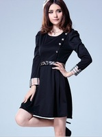 Autumn fashion all-match long-sleeve women's elegant slim princess one-piece dress Free Shipping