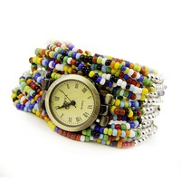 Gorgeous multiple crystal beads bracelet female watch elegant garden style- Free Shipping!