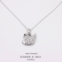18k white gold plated with rhinestone swan brand necklace  Wholesale