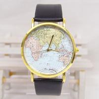 New arrival Top Quality Wholesale leather strap watches Map Design Wrist  Quartz  Watch Women Men analog Wristwatch