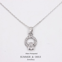 18K white gold plated with bear crystals around pendants necklace