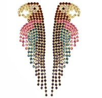 2014 Fashion  rhinestones  luxurious big bird statement stud Earrings for women jewelry Factory Price in stock