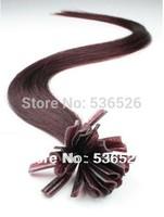 "Cheap Human Hair 100s hares Brazilian virgin hair 22""24"" Pre Bonded Hair Extensions U tip #99J Red Wine 70g free shipping"