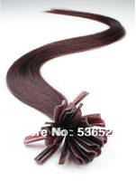 "Cheap tip100shares 12"" 14: 16"" 18"" 20"" 22""24"" Pre Bonded Hair Extensions U tip/Nail Tip #99J Red Wine 70g free shipping"