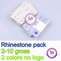 "2 colors Wholesale rhinestone 10 pcs Empty paper pack bags DMC Rhinestone packaging "" NO LOGO NO BRAND "" FTR004H"