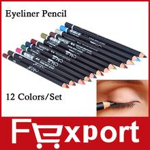 12 Colors Eye Make Up Eyeliner Pencil Waterproof Eyebrow Beauty Pen Eye Liner Lip sticks Cosmetics Eyes Makeup (China (Mainland))
