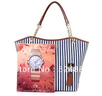 Free shipping 2013 women's handbag stripe canvas bag chain tassel hangings handbag fashion bag
