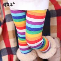 Thick Girl Legging Rainbow Stripe Velvet Baby Leggings, Child Winter Fleece Boot Cut Pants, Kids Thermal Casual Skinny Trousers
