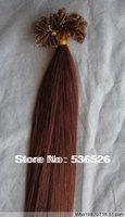 Peruvian virgin hair 100strands U tip hair  Human Hair 24' Keratin nail tip remy hair extension #30 Auburn Brown color