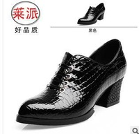 size34-39 2014 fashion women's elegant Stone Pattern sexy black thick high-heeled lace-up genuine leather single shoes hh107