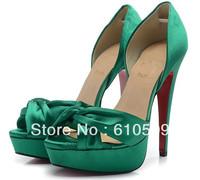 Free Shipping + Hot Sale Newest Silk Mesh Sexy Open Toe Red Bottom High-Heeled  Wedding Dress Sandals
