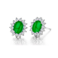 Free shipping 925 pure silver platinum malay jade stud earring fashion women's earring day gift  pure silver platinum with box