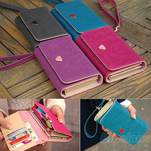 Women Lady Fashion Accessories Envelope Card Coin Wallet Leather Purse Case Cover Bag For Samsung