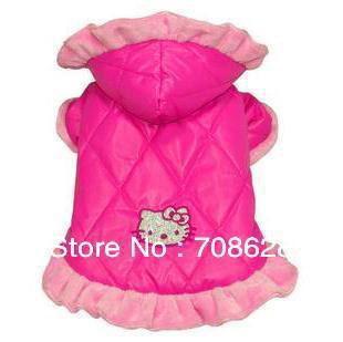 10PC/Lot Cute Pink Pet Dog Hello Kitty Jacket Puppy Cat Winter Cotton Hoodie Coats Dress Dog Clothes Clothing S M L XL XXL(China (Mainland))