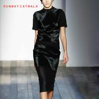 (2Piece/Set)Women's Dress Celebrity Victoria Beckham High Quality Runway Black Dress Spring Summer 2014 New Style