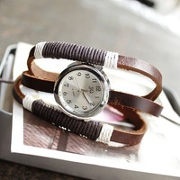 new 2013 Free shipping wholesale dropship 2013 hot sale Russia 3 ring Handmade rope antique Cow Leather watches vintage ladies