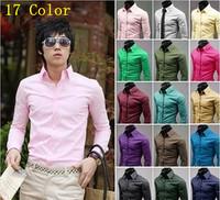 Fashion Mens Shirt Designer Casual Slim Fit Solid Candy Color Dress shirts Factory Wholesale (17 Colors) Plus Size M-3XL #0196