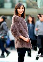 2014 winter fur fashion  medium-long rabbit fur coat fashion o-neck  rabbit fur new fashion women's clothing winter clothing