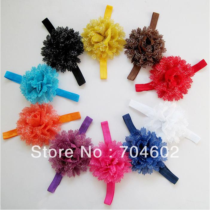 20pcs/lot Baby Kids flower headband Wavy Edge Chiffon Flower with shining hairband hair accessories freeshipping FDB08(China (Mainland))