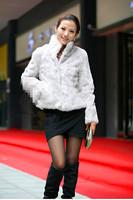 Fashion all-match new 2014 winter full leather fur short fur coat rabbit design medium-long overcoat rabbit fur fabric