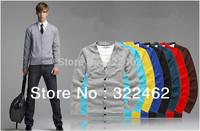 Fashion Autumn Mens Cotten Knitwear Cardigan Design Slim Casual Sweater V-Neck Factory Wholesale 8 Color Plus Size M-2XL SM-0002
