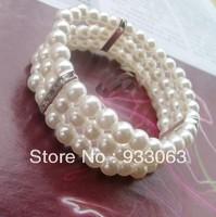 Free shipping 2013 Fashion female rhinestone pearl bracelet elegant sparkling  multi-layer elastic bracelet Three layers