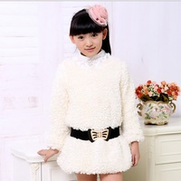 Hot Children's clothing Autumn winter girls  clothes Gross sweater warm jacket detachable belt Free shipping
