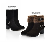 Free Shipping HOT ! Wedge Women Rubber Boots Winter Fashion Short Plush All-match Snow Ankle Boots Black And Brown Size 35-39