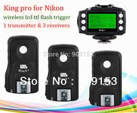 free shipping!!for nikon pixel king pro lcd screen wireless ttl flash trigger for dslr nikon  (1 transmitter &3receiver)
