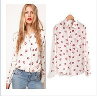 2013 New White Women Stand Collar Button Red lip Print Blouse Long Sleeve Shirt Top S M L Free Shipping