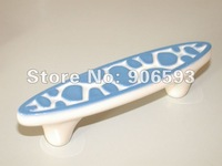 6pcs lot free shipping Porcelain sweet blue speckle cartoon cabinet handle\porcelain handle\furniture handle