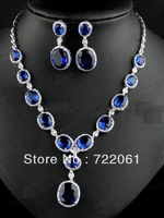 Spot wholesale and retail Austrian crystal sapphire oval earrings necklace set