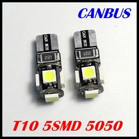 Wholesale 500pcs/Lot Canbus T10 5smd 5050 LED car Light Canbus W5W 194 5050 SMD Error Free White Light Bulbs