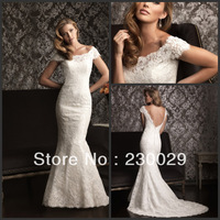 New styles floor-length mermaid white lace sweetheart beads ruffles bridal gown cap sleeve zip high quality wedding dresses