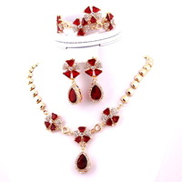 Wholesale & Retail Fashion18k Red Crystal pendant wedding accessories necklace wedding Zircon Jewelry Sets Earrings Necklace